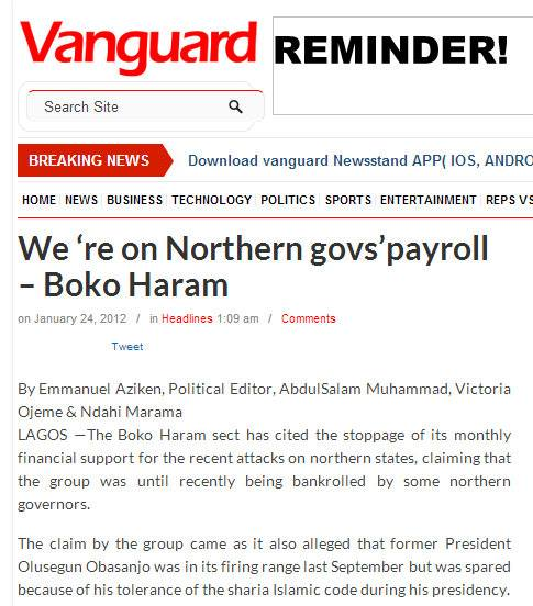 BOKO HARAM ON NORTHERN GOVS PAYROLL