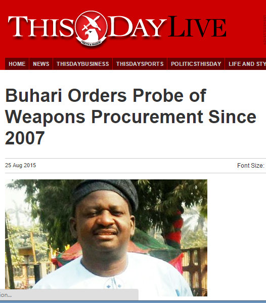 ARMS PROBE FROM 2007 THISDAY
