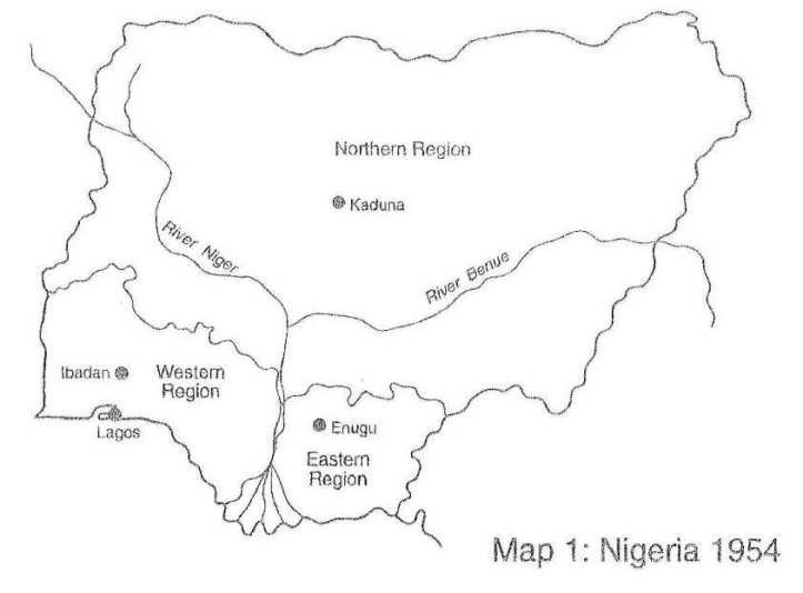 NIGERIA REGION MAP 1954
