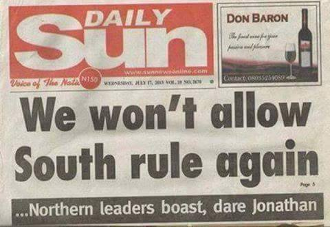 NORTH LEADERS SOUTH WILL NEVER RULE OER NORTH